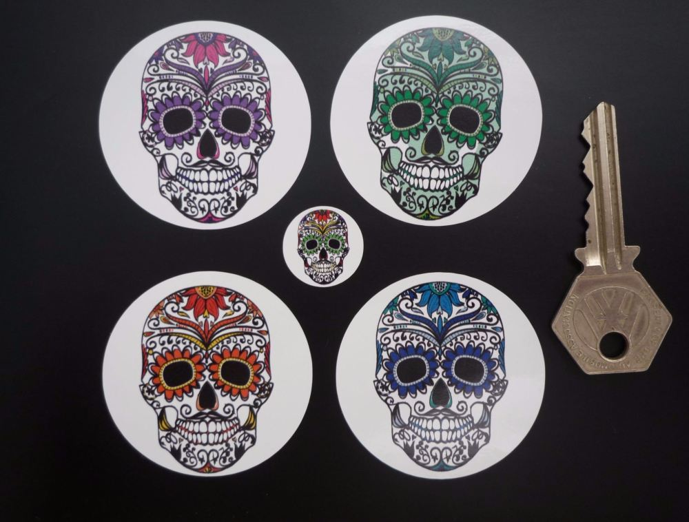 Day of the Dead Multi Colour Sugar Skull Wheel Centre Stickers. Set of 4. 50mm.