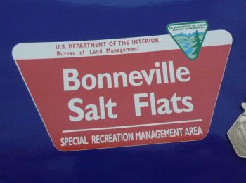 "Bonneville Salt Flats US Land Management Sign Sticker. 5""."
