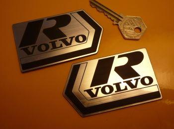 """Volvo R Self Adhesive Car Badges. 3.25"""" Pair."""
