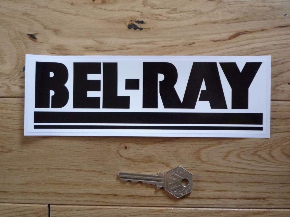 """Bel-Ray Black & White Oblong Sticker. 8""""."""