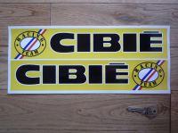 "Cibie Racing Team Handed Logo Stickers. 12.5"" Pair."