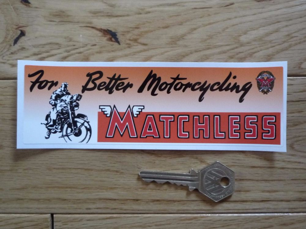 """Matchless For Better Motorcycling Oblong Sticker. 6.5""""."""