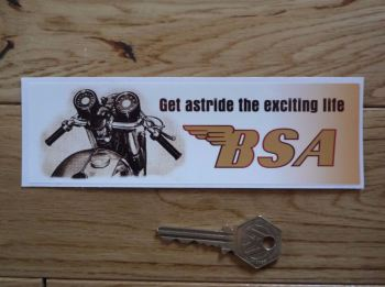 """BSA Get Astride The Exciting Life Oblong Sticker. 6.5""""."""