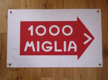 "Mille Miglia Rally Art Banner. 28"" x 19""."