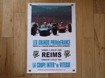 "Reims Les Grand Prix de France Banner Art. 15"" x 22""."