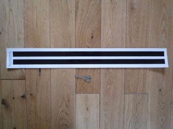 Stadium Style Black & White Helmet Stripe Stickers. 550mm Pair.