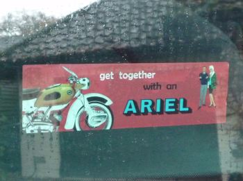 "Ariel Get Together With An Ariel Oblong Sticker. 6.5""."