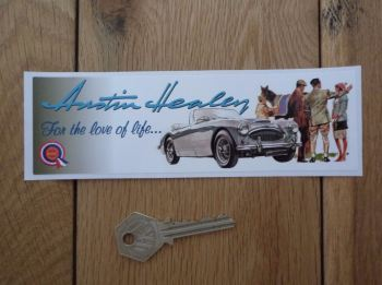 "Austin Healey For The Love Of Life Oblong Sticker. 6.5""."