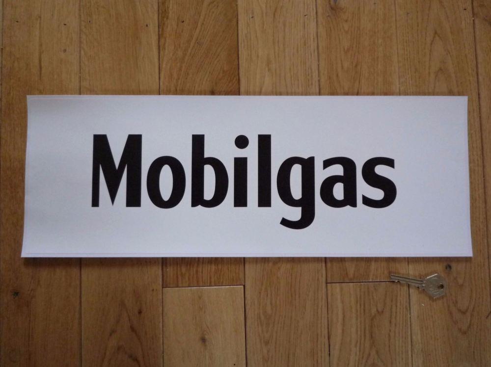 """Mobil Mobilgas Black & White Oblong Sticker. 19""""."""