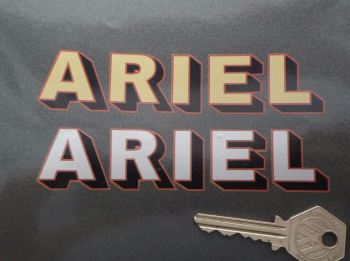 "Ariel Shadow Text Metallic Red Edged Stickers. 5"" Pair."