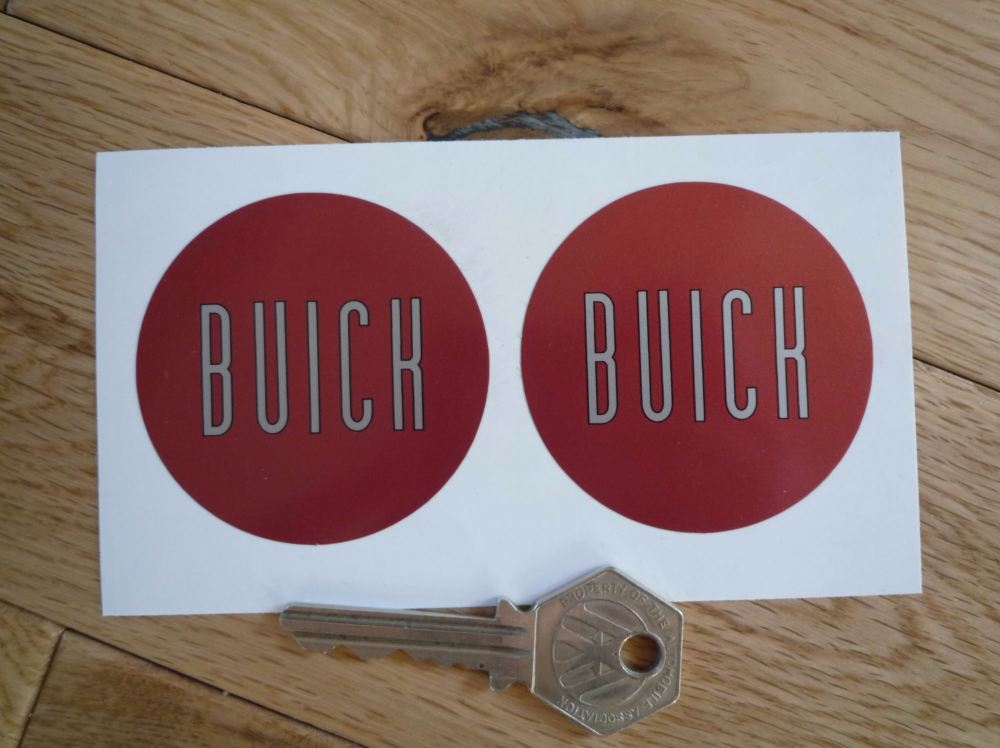 Buick Red & Silver Circular Stickers. 56.5mm Pair.