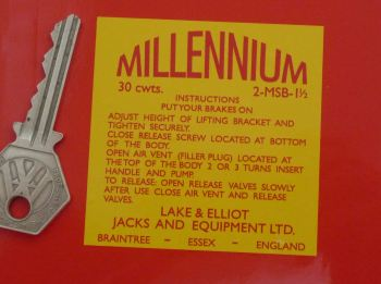 "Millennium Jacks & Equipment Sticker. 2.5""."