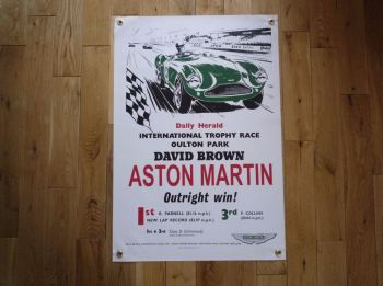 "Aston Martin International Trophy Race Winner Art Banner. 20"" x 30""."