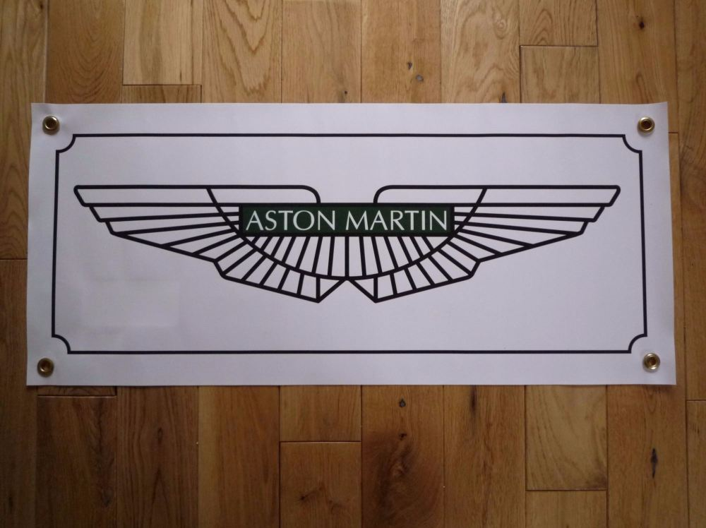 "Aston Martin Winged Logo Art Banner. 28"" x 12""."