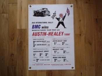 "Austin Healey '3000' RAC Rally Banner Art. 17"" x 25""."