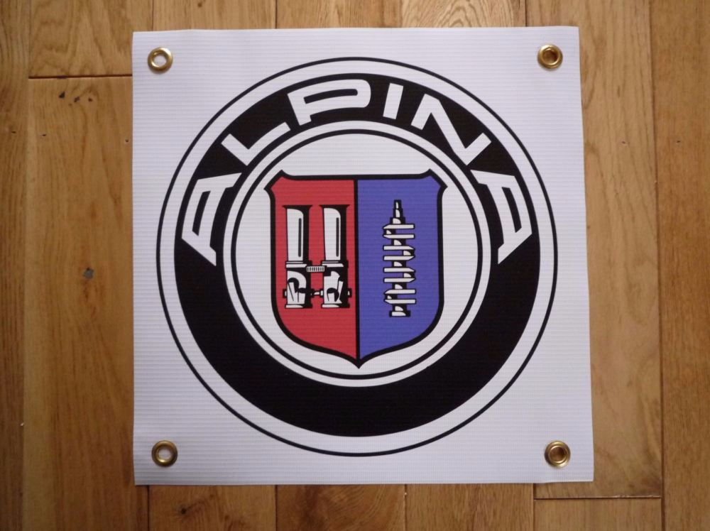 "Alpina BMW Logo Banner Art. 13"" by 13""."