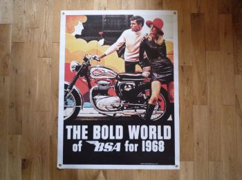 "BSA Bold World for 1968 Banner Art. 30"" x 41""."