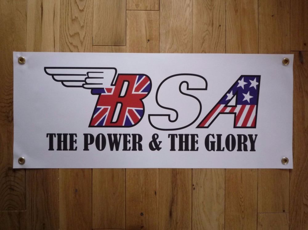 "BSA The Power & The Glory Text Banner Art. 28"" x 12""."