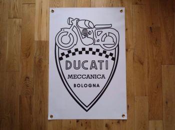 """Ducati Meccanica Bologna Shield Style Banner Art Poster. 28""""."""