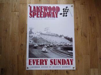 """Lakewood Speedway NASCAR Banner Art. 21"""" x 29""""."""