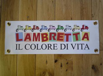 "Lambretta Colore Di Vita Scooter Leg Shield Bra Banner. 18""."