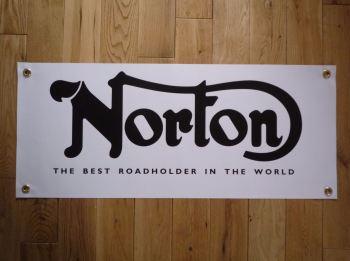 """Norton The Best Roadholder In The World Banner Art. 28""""."""