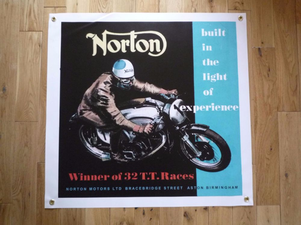 "Norton Winner of 32 TT Races Banner Art. 26"" x 26""."