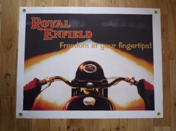 "Royal Enfield Freedom At Your Fingertips! Art Banner. 27"" x 21""."