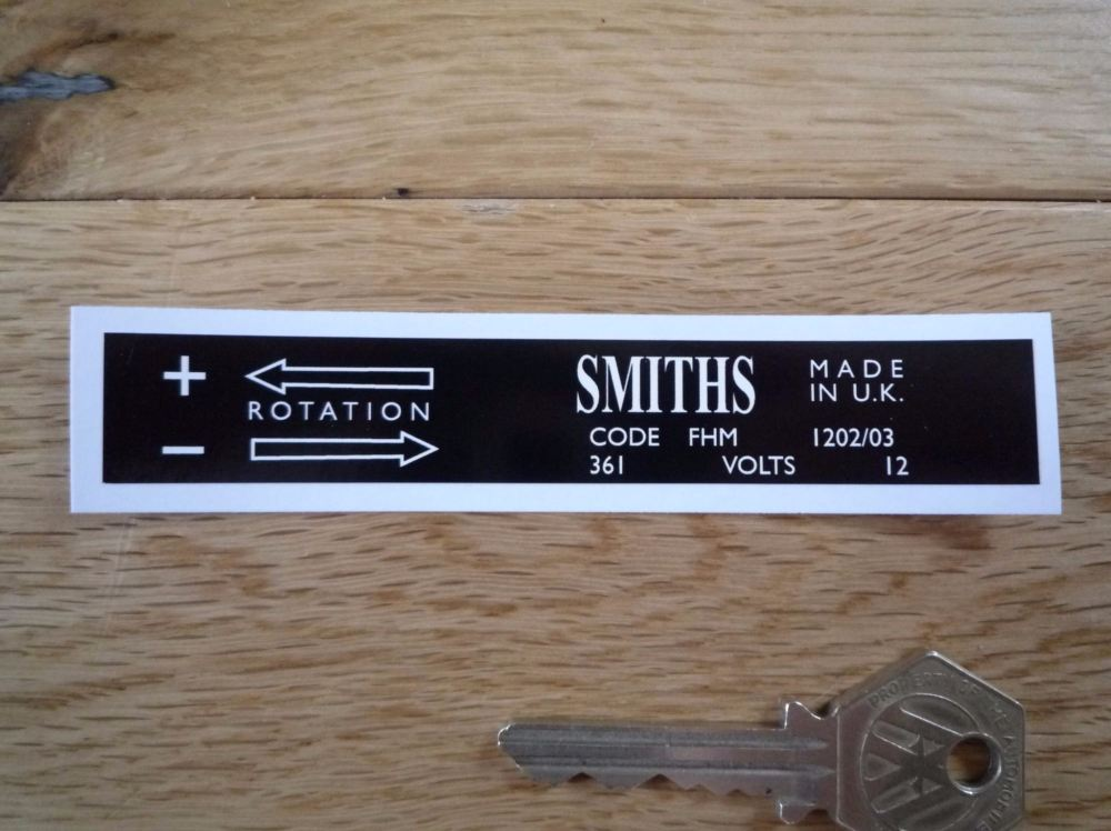 Smiths Heater Label FHM 1202/03 Sticker. 110mm.