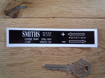Smiths Heater Label FHM 5761:03V Sticker. 110mm.