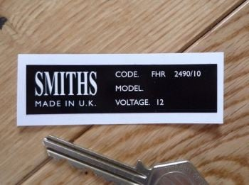 Smiths Heater Label FHR 2490/10 Sticker. 67mm.