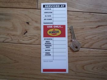 "Pennzoil 'Serviced At' Use Only Pennzoil Service Sticker. 6.5""."