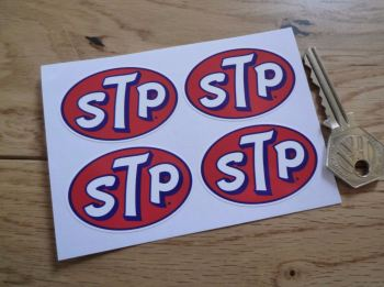 "STP Oval Stickers. Set of 4. 2""."