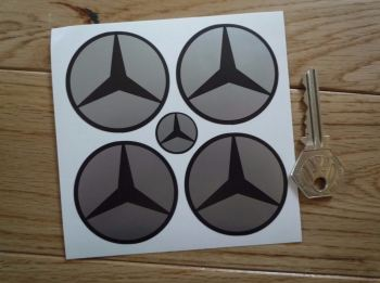 Mercedes Benz Simple Style Dark Grey & Silver Wheel Centre Stickers. Set of 4. 50mm.