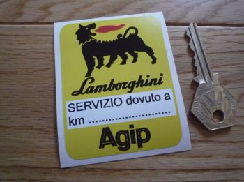 "Lamborghini & Agip Yellow Service Sticker. 3""."