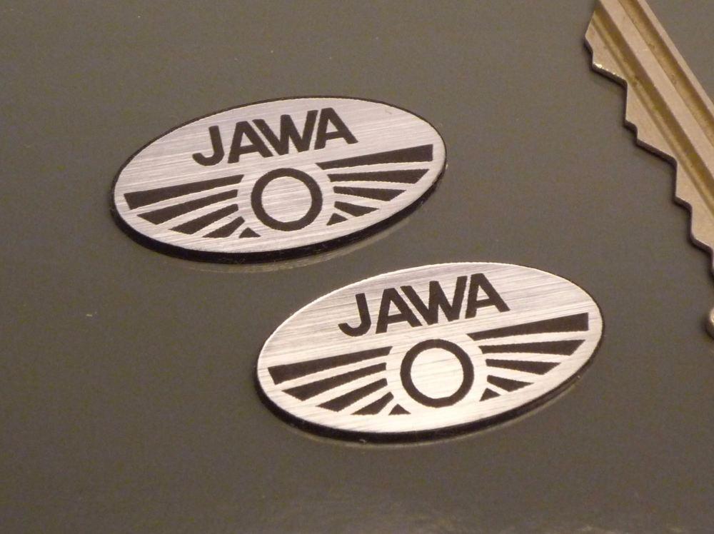 Jawa Oval Logo Style Laser Cut Self Adhesive Bike Badges. 30mm Pair.