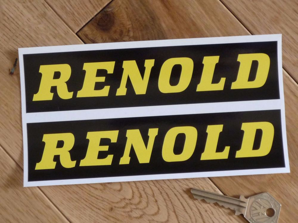 """Renold Black & Yellow Oblong Stickers. 7"""" Pair."""