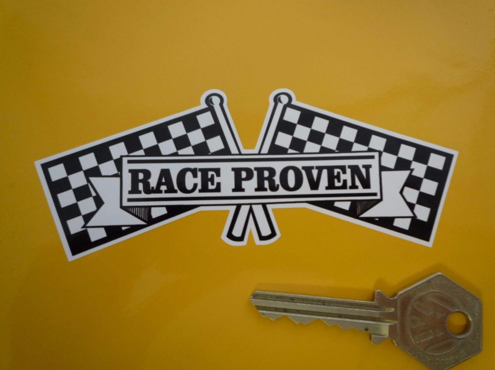 "Race Proven Chequered Flag Crossed Old Style Sticker. 4.75""."