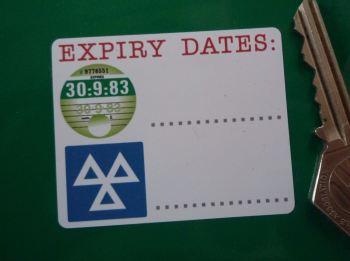 "Tax & MOT Expiry Date Reminder Stickers. 2.5"" Pair."