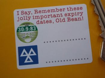 """Tax & MOT Jolly Important Expiry Date Reminder Stickers. 2.5"""" Pair."""
