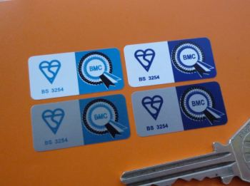"BMC Seat Belt Buckle Label Stickers. Set of 4. 1.25""."
