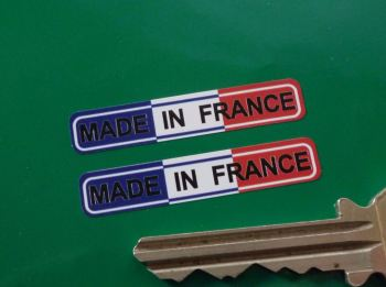 "Made in France Tricolore Oblong Stickers. 1.5"" Pair."