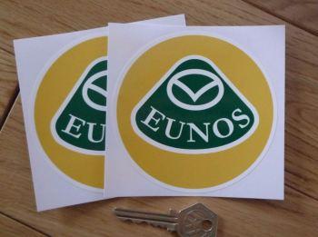 "Eunos Mazda Circular Stickers. 4"" Pair."