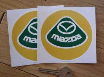 """Mazda Lotus Style Logo Circular Stickers. 4"""" Pair."""