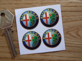 Alfa Romeo Modern Style Logo Stickers. 25mm. Set of 4.