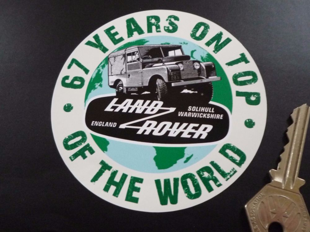 "Window Stickers For Cars >> Land Rover Defender. 67 Years On Top Of The World Sticker. 4""."