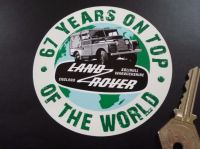 Land Rover Defender. 67 Years On Top Of The World Sticker. 4
