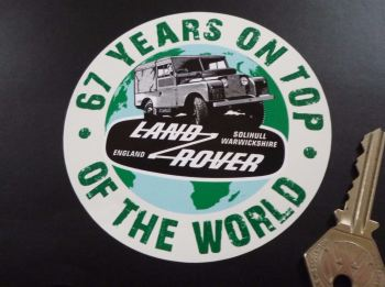 "Land Rover Defender. 67 Years On Top Of The World Sticker. 4""."