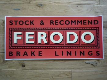 "Ferodo Stock & Recommended Brake Linings Sticker. 20.5""."