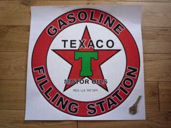 "Texaco Gasoline Filling Station Circular Petrol Pump Sticker. 12""."